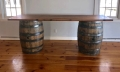 Rental store for Table - 2 whiskey barrels w  wooden top in Plymouth MA