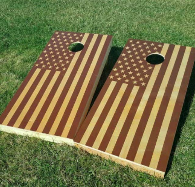 Where to find Stained Amer Flag Hardwood Cornhole Game in Plymouth