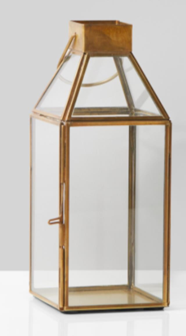Where to find Small Square Gold Lantern 4  sq x 10  hi in Plymouth
